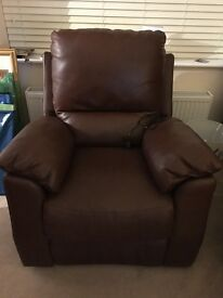 Soft Leather electric recliner armchair 6m old cost £800 new