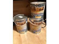 Ronseal Diamond Hard floor varnish satin clear 12.5 litres 2x 5l, 1x 2l