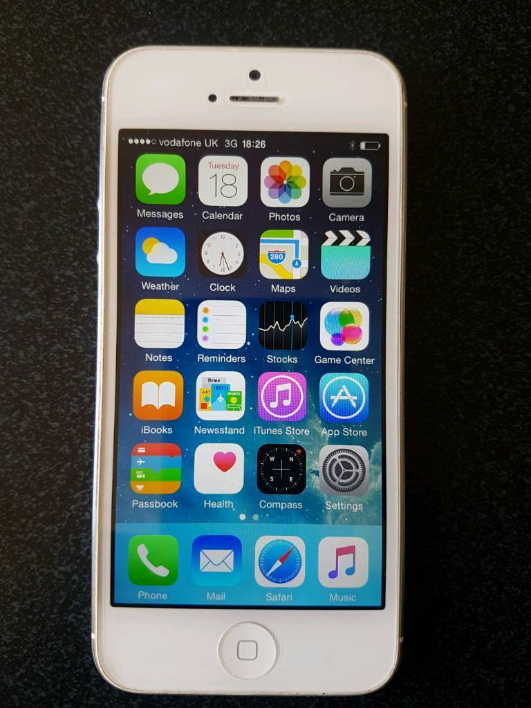 Iphone 5 16GB White Vodafone network Great Conditionin Leith, EdinburghGumtree - iPhone 5 16GB WhiteIn perfect working condition . Works with Vodafone network. Comes with charger and cable.Were gsm shop and all our phones comes with 2 weeks warranty. We can deliver in Edinburgh area. Fixed price , please no swaps or offers.Thank...
