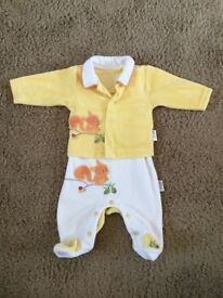 Baby girl outfit - dungarees and a matching long sleeve top 56cm (up to 1 month)