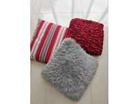 Mix of 3 Red and grey cushions