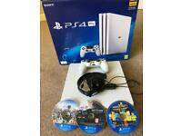 WHITE PS4 PRO 1TB WITH HEADSET AND 3 GAMES