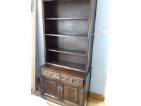 Old Charm dark oak glazed bookcase,open bookcase, extending dining table 2 carvers, 4 other chairs