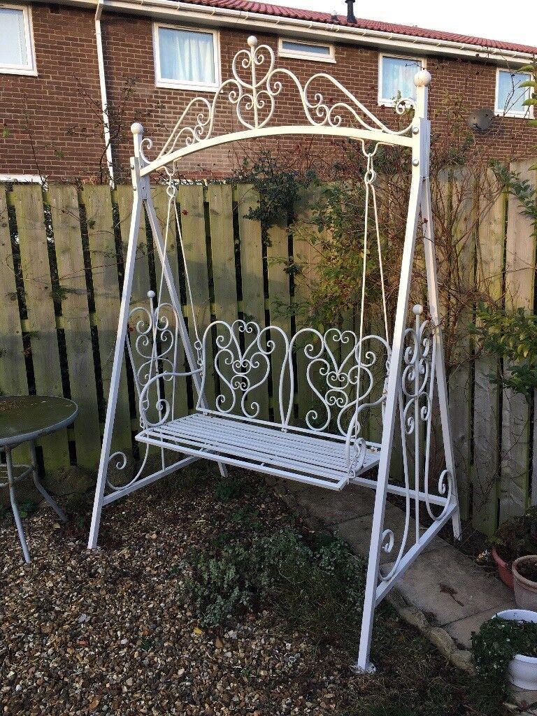 White metal swing seat