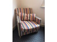 Colourful Stripey Armchair with cushion - used