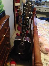 Acoustic guitar with new strings