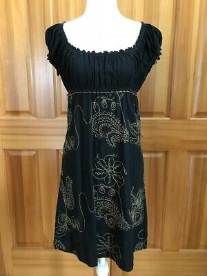 Max Studio Embroidered Black Baby Doll High Waisted Dress Size XS