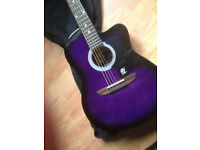 Lindo acoustic guitar 933c purple with gig bag - Like new