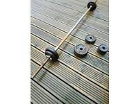 Barbell with cast iron weights. (Approx 25kg)