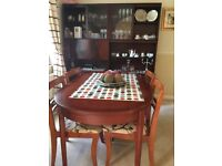 Dining Table and four chairs with Dresser