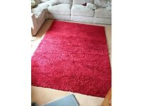 Red shaggy rug. £10.