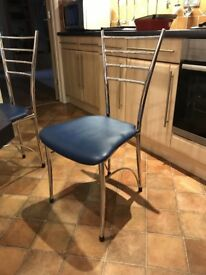 TWO quality chrome kitchen chairs - blue seating