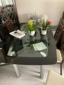 Dining Table- Black Glass Double Layer