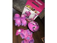 Girls skates set with helmet and pads included sizes 3-8 junior p