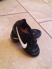 Nike childs leather size 12 football boots