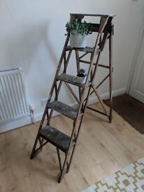 Vintage, Wooden Ladders. Decorative, Shabby-Chic Display Ladders For Weddings, Craft Fairs, At Home.