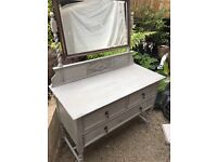 Beautiful shabby chic OAK dressing table - Annie Sloan with large mirror