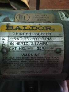 "Baldor 3600 rpm double end bench grinder, 115 volt, 6"" wheels, lovolt light"