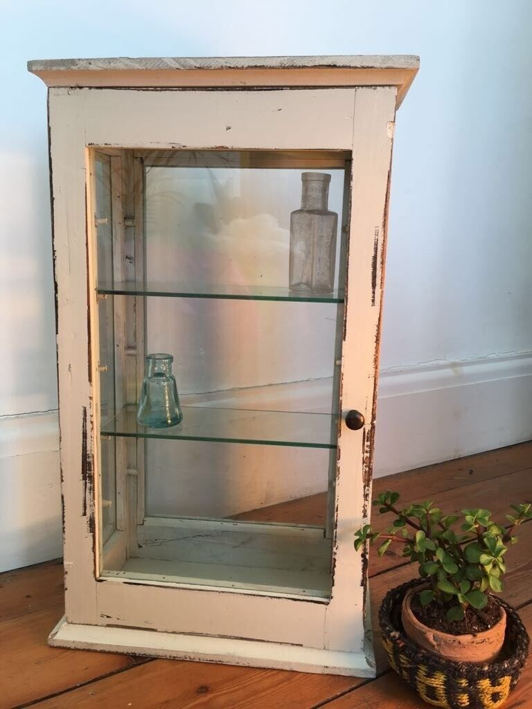 Small vintage glass-door display cabinet - Small Vintage Glass-door Display Cabinet In Forest Gate, London