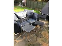 2 seater leather sofa, Tv unit , baby walker plastic chairs etc