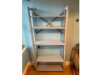 Blue painted wooden adjustable shelving unit