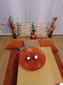 Orange rug and cushions ect