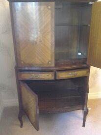 Repro Georgian Drinks Cabinet. Internal light and pullout glass shelf.Verygood condition