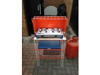 Camping stove and shelves includes 13kg gas cylinder pretty full