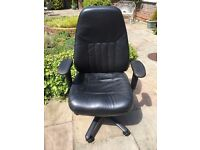 Black Leather Office Chair. 4 Part Movement. RRP £250.00 (1 of 2 being sold)