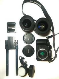 Panasonic Lumix GH5 + x64 Speedbooster + 16mm and 35mm EF Samyang cinema lens + Follow Focus
