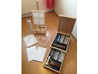 Artist Art Chest and Easel and accessories