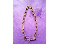 Guess Ladies Necklace Safety Pin Model With Swarovsky Stone Full Gold Plated Stainless Steel