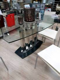 Large Heavy Glass Table with Marble Base