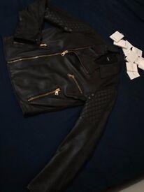Versace Versus Gold Zipper Leather Jacket (Size 46)