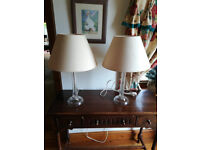 2 Laura Ashley Etched Glass Lamps