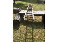Vintage wooden extendable ladders.