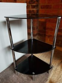 Glass Corner Shelf Unit