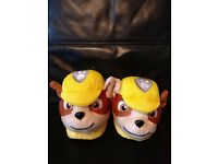 Paw Patrol Rubble slippers, brand new, never worn. Size 7 but more like a 5 due to thick lining