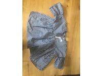 Gingham fluted sleeve top, brand new with tags