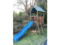 Wooden Climbing Frame, Cubby House, Sand Pit and Slide
