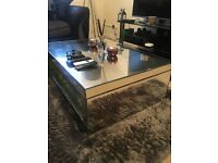 Mirrored Next Home glass coffee table