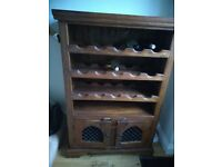 "Rustic wooden wine rack furniture. Approximate size H4ftxW2ft6""D16"""