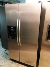 American fridge freezer stainless steel whirlpool with water and ice dispenser