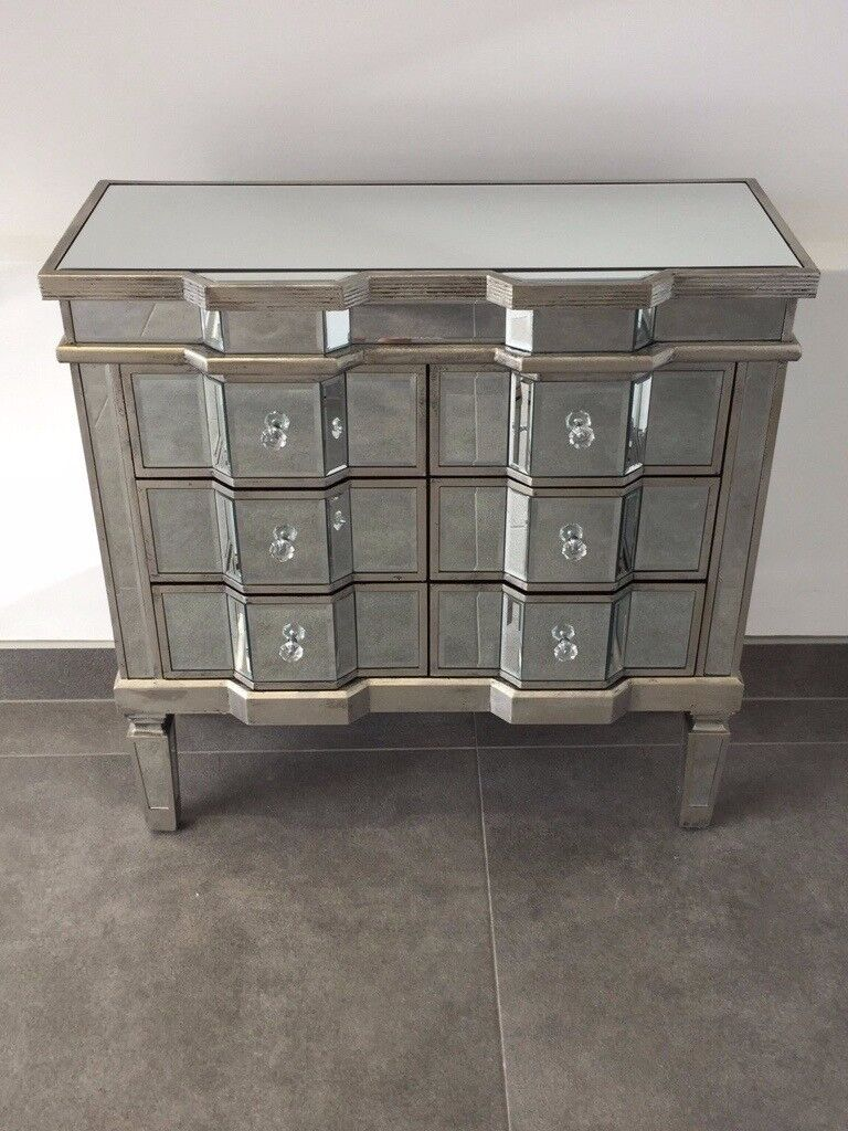 Large silver mirrored chest of drawers bedroom furniture 6 drawer