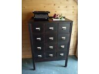 REFURBISHED OAK CHEST OF DRAWERS - FAUX APOTHECARY CABINET - LIBRARY CHEST - SHABBY CHIC