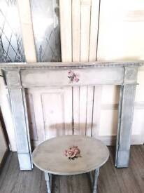 Gorgeous painted shabby chic style fireplace