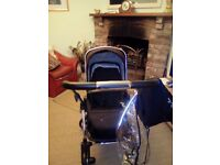 Excellent condition Silver Cross Black Wayfarer Pram and Pushchair and Simplicity Car Seat