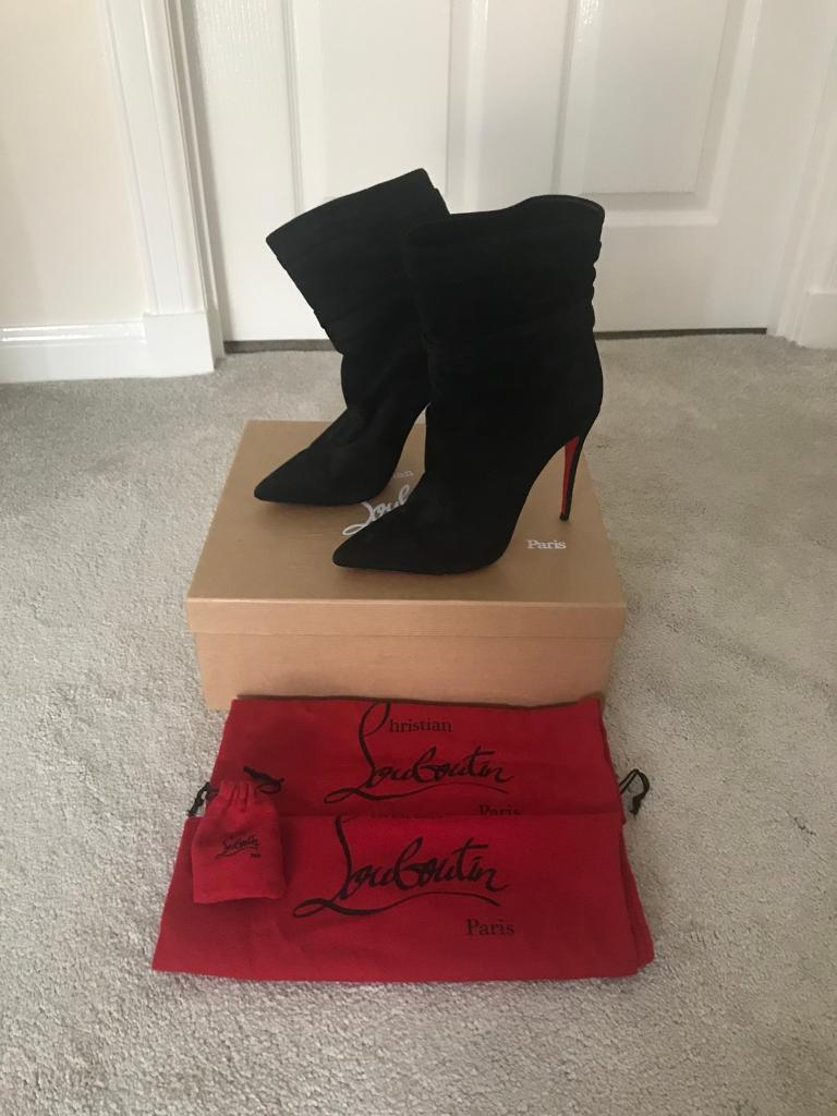 Genuine Christian Louboutin Ishtar booty 100 black suede boots