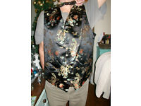 Mens oriental pattern waist coat and bow tie