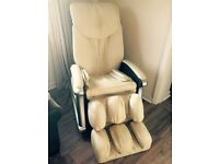 Cream leather electric massage chair by Sterling